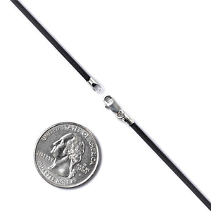 Black Leather Cord 2mm  and Sterling Silver Clasp