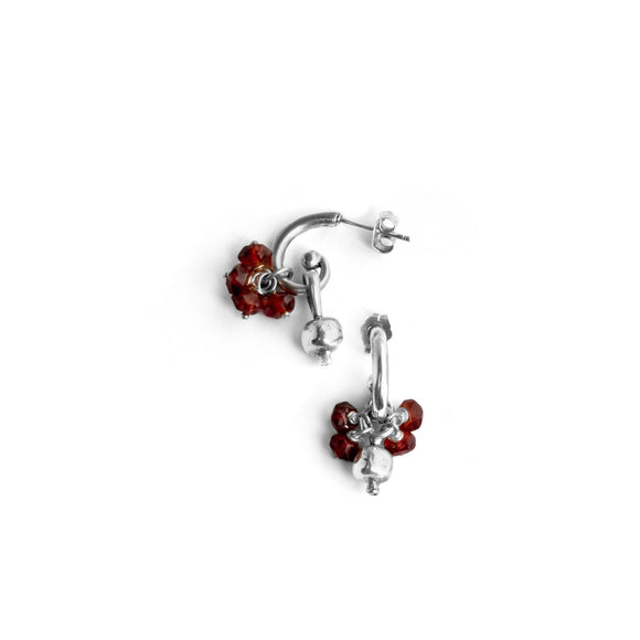 Tiny Pomegranate Earrings Silver Garnet