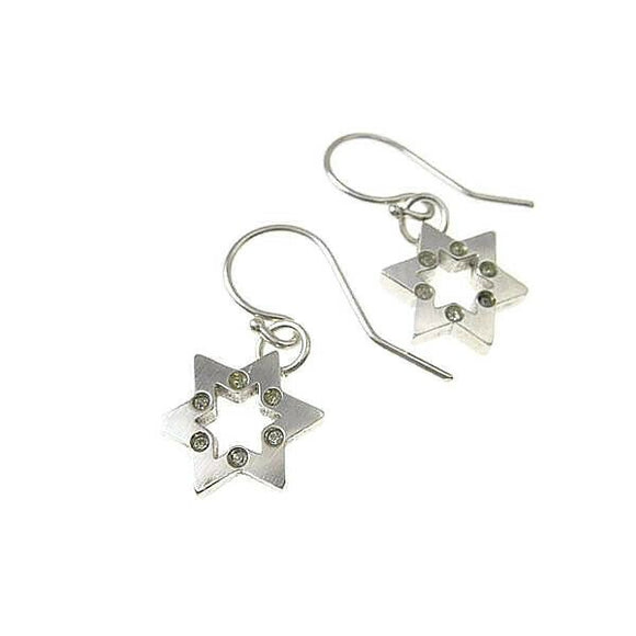 Star of David Dangle Drop Earrings Silver