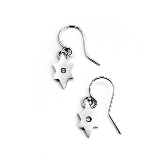 Star of David French Wire Earrings Silver CZ