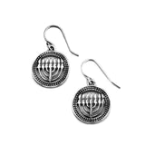 Round Menorah Earrings Silver