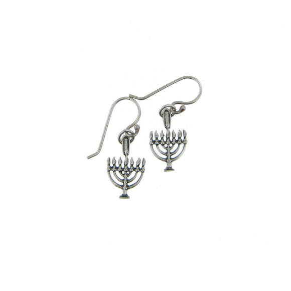 Small\ Menorah Dangling Drop Fish Hook Earrings Silver