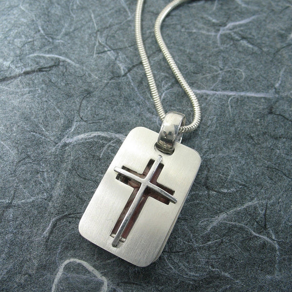 Rectangular Cross 2 Pictures Locket Sterling Silver