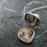 Peas In A Pod Square Locket Sterling Silver Pearls