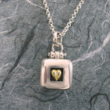 Heart Square Locket Sterling Silver Vermeil