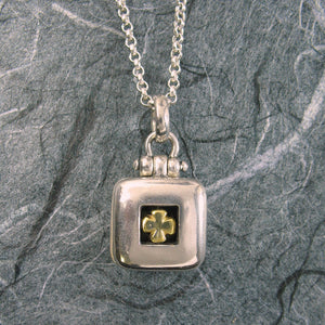 Clover Cross Square Locket Sterling Silver Vermeil