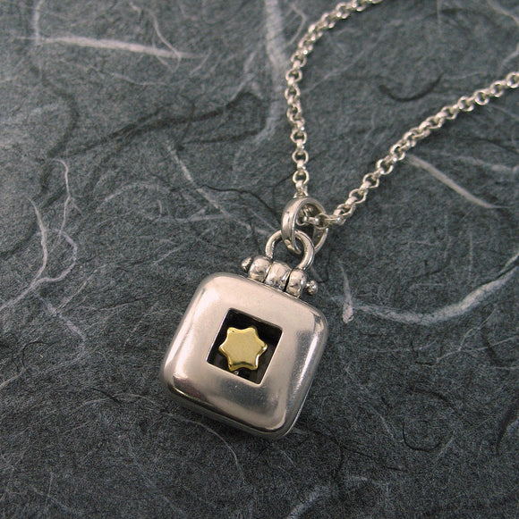Star Of David Square Locket Sterling Silver