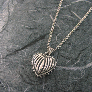 Small Ribbed Heart 2 Pictures  Locket Sterling Silver