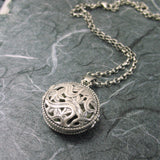 Round Medallion Art Nouveau 2-sided Locket Sterling Silver