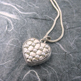 Victorian Quilted Heart 2 Pictures  Locket Sterling Silver Pearls
