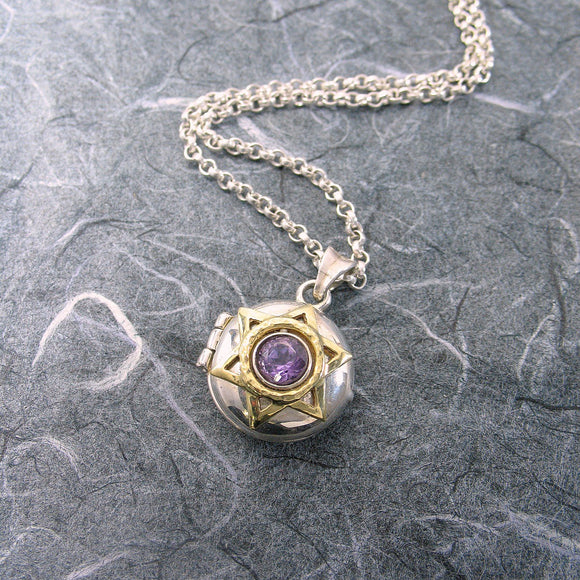 Star Of David Locket Sterling Silver and 14K Gold Amethyst