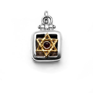 Star Of David Square Locket Sterling Silver and 14K Gold