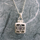 Star Of David Square Locket Sterling Silver Amethyst