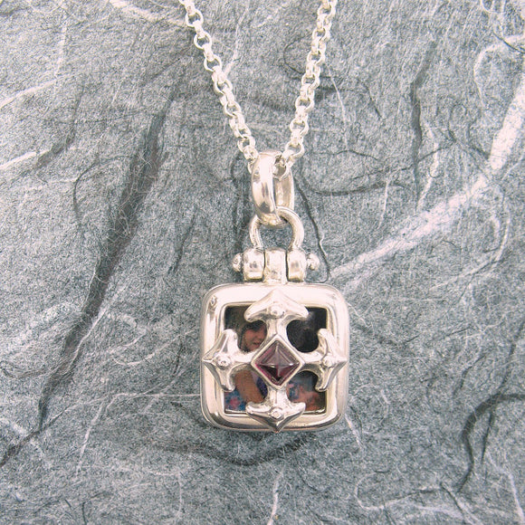 Maltese Cross Square Locket Sterling Silver Garnet