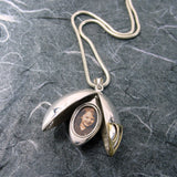 Oval Mezuzah Shin Locket Sterling Silver and 14K Gold