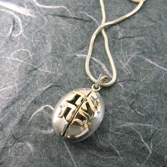 Ladybug Ahava Locket Sterling Silver and 14K Gold