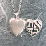 Large Heart Ahava (Love) Cut-out Locket Sterling Silver