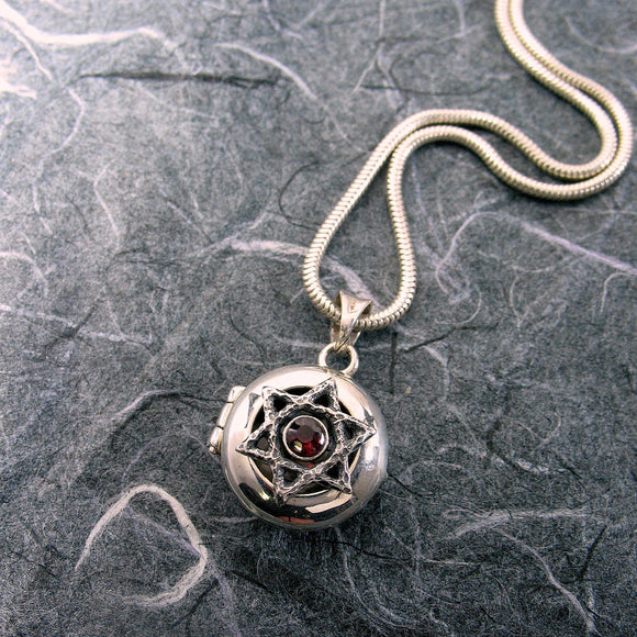 Star Of David Locket Sterling Silver