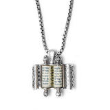 Filigree Torah Scroll Pendant Silver Shema scroll Mens
