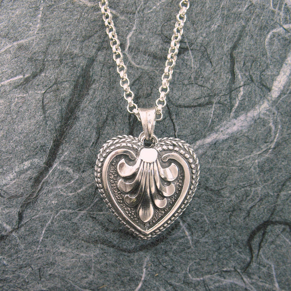 Victorian Ornate Heart Locket Sterling Silver