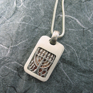 Menorah Rectangular Locket Sterling Silver