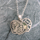 Tree Of Life and Ahava 2-Sided Heart Locket Sterling Silver