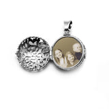 Large Round Shema Medallion Locket Sterling Silver
