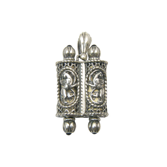 Lion of Judah Torah Scroll Pendant Silver Garnets Shema scroll Mens