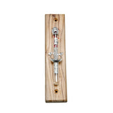 Door Mezuzah Case Silver Olive Tree Wood Garnets