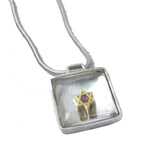 Star of David Square Pendant Necklace Silver Rock Crystal Snake Chain 1.6mm