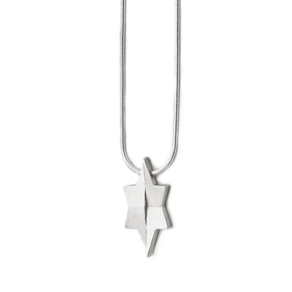 Architectural Star of David Pendant Necklace Silver Snake Chain 1mm