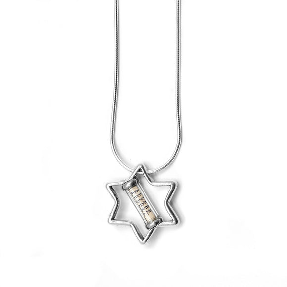 Star of David Mezuzah Pendant Necklace Silver Shema scroll on Snake Chain 1mm