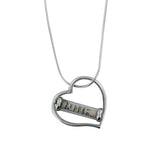 Heart Mezuzah Pendant Necklace Silver Shema scroll on Snake Chain 1mm