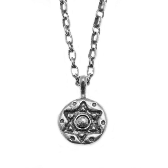 Contemporary Modern New Age Star of David Pendant Necklace Silver Antique Rolo Chain Mens