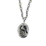Contemporary Modern New Age Hamsa Pendant Necklace Silver Antique Rolo Chain