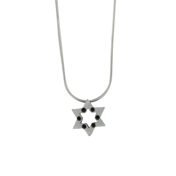 Modern Star of David Pendant Necklace Silver Snake Chain 1mm