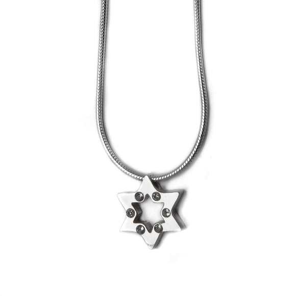 Star of David Pendant Necklace Silver CZ Snake Chain 1mm