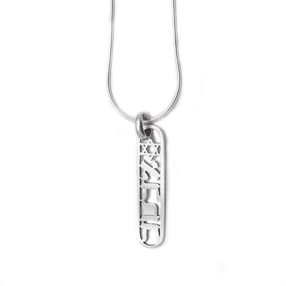 Cartouche-shaped Vertical Ahava & Star of David Pendant Necklace Silver Snake Chain 1mm