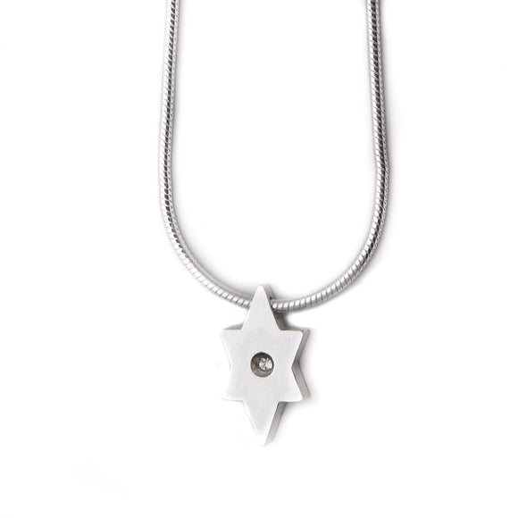 Minimalistic Star of David Pendant Necklace Silver CZ Snake Chain 1mm
