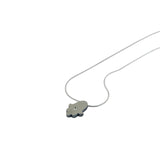 Hamsa Pendant Necklace Silver CZ Snake Chain 1mm