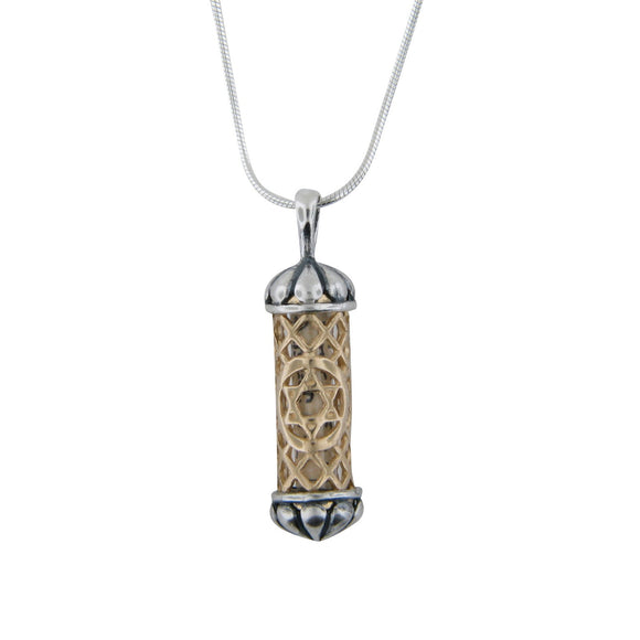 Filigree Mezuzah Pendant Necklace Silver 14K gold Snake Chain Shema scroll on Snake Chain 1mm
