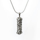 Filigree Mezuzah Pendant Necklace Silver Shema scroll on Snake Chain 1mm