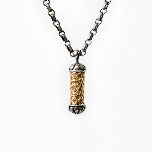 Filigree Mezuzah Pendant Necklace Silver 14K gold Rolo Chain Shema scroll on Antique Rolo Chain