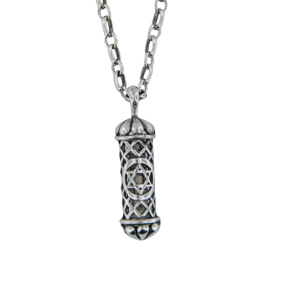 Filigree Mezuzah Pendant Necklace Silver Rolo Chain Shema scroll on Antique Rolo Chain