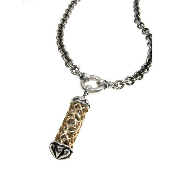 Filigree Mezuzah Pendant Necklace Silver 14K gold Shema scroll on Antique Rolo Chain Mens