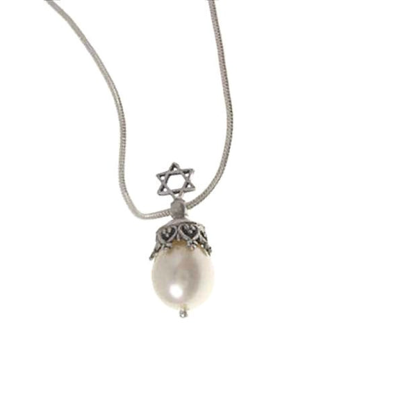 Star of David Pendant Necklace Silver Pearl Snake Chain 1mm