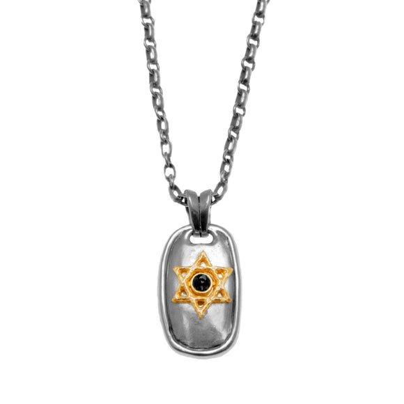 Star of David Dog-Tag Pendant Necklace Silver 14K gold Antique Rolo Chain Mens