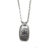 Star of David Dog-Tag Pendant Necklace Silver Antique Rolo Chain Mens
