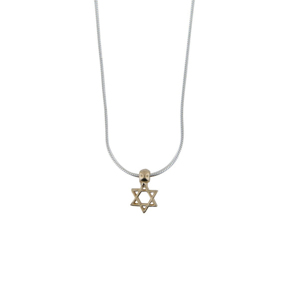 Tiny Star of David Pendant Necklace Silver 14K gold Snake Chain 1mm
