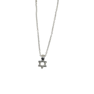 Tiny Star of David Pendant Necklace Silver Delicate Cable Chain